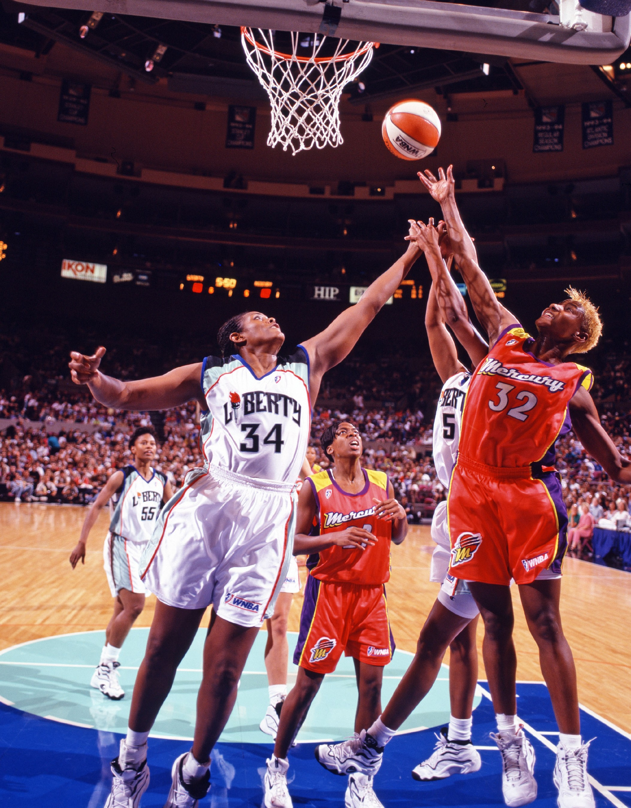 June 29, 1997; The New York Liberty v. The Phoenix Mercury. The Liberty make their debut at Madison Square Garden in front of a crowd of 17,780, earning their first home win by defeating Phoenix 65-57.